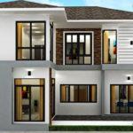 แบบบ้านสองชั้นรูปทรงร่วมสมัย ออกแบบเพื่อครอบครัวขนาดใหญ่ด้วย 5 ห้องนอน 5 ห้องน้ำ พร้อมพื้นที่ใช้สอยกว้างขวาง
