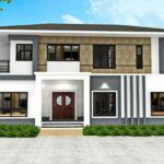 แบบบ้านสองชั้นสไตล์คอนเทมโพรารี่ ออกแบบตัวบ้านหน้ากว้าง ขนาด 3 ห้องนอน 3 ห้องน้ำ
