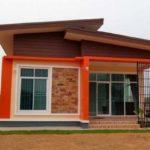 บ้านโมเดิร์นชั้นเดียว ตกแต่งด้วยสีส้มโดดเด่น สวยน่าอยู่ดูมีชีวิตชีวา