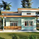 บ้านชั้นเดียวโทนสีฟ้า หลังคาเพิงหมาแหงน 2 ห้องนอน 2 ห้องน้ำ พร้อมเฉลียงรับแขกหน้าบ้าน