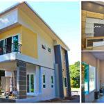 บ้านสองชั้นสไตล์โมเดิร์น ขนาด 3 ห้องนอน 3 ห้องน้ำ ออกแบบตัวบ้านรูปทรงหน้าแคบ เหมาะสำหรับที่ดินขนาดเล็ก