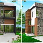 แบบบ้านสองชั้นสไตล์โมเดิร์น ภายนอกตกแต่งด้วยกระเบื้องลายหินธรรมชาตื ให้ความสวยงามและมีเอกลักษณ์