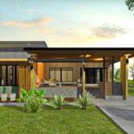 แบบบ้านโมเดิร์นลอฟท์ชั้นเดียว 5 ห้องนอน 3 ห้องน้ำ สวยงามโดดเด่นด้วยซุ้มระแนงไม้และผนังปูนเปลือย