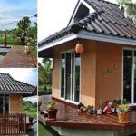 สร้างบ้านหลังน้อยกลางน้ำ ขนาด 16 ตร.ม. สำหรับพักผ่อนหรือรับแขก พร้อมเฉลียงไม้รอบด้าน
