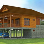 แบบบ้านสองชั้นยกพื้นสูง โครงสร้างไม้ผสมคอนกรีต 2 ห้องนอน 2 ห้องน้ำ กลิ่นอายแบบบ้านชนบทดั้งเดิม