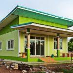 บ้านร่วมสมัยชั้นเดียว 3 ห้องนอน 1 ห้องนอน ตกแต่งสดใสในโทนสีเขียวสว่าง
