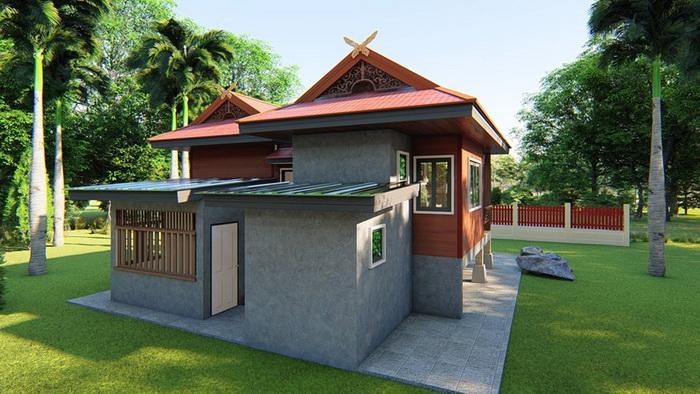Half Concrete Half Wood House By Metha Khuaenpa 1