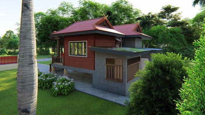 Half Concrete Half Wood House By Metha Khuaenpa 3