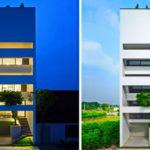 บ้านสไตล์โมเดิร์น ออกแบบรูปทรงสูง ตกแต่งด้วยโทนสีขาว สร้างได้แม้บนที่ดินขนาดเล็ก