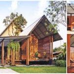 บ้านไม้ชั้นเดียวออกแบบยกพื้นต่ำ หลังคารูปทรงหน้าจั่ว ดีไซน์พื้นที่เฉลียงบ้านโปร่งโล่ง ให้พื้นที่พักผ่อนที่เย็นสบาย