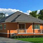 บ้านรูปทรงร่วมสมัย ตกแต่งผนังภายนอกในโทนสีส้ม ขนาด 3 ห้องนอน 1 ห้องน้ำ งบประมาณ 1.03 ล้านบาท