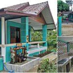บ้านแนวร่วมสมัยชั้นเดียว ตกแต่งในโทนสีเขียวมิ้นท์ พร้อมเฉลียงพักผ่อนและครัวไทยหลังบ้าน