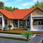 แบบบ้านร่วมสมัยชั้นเดียว โดดเด่นด้วยหลังคาจั่วคู่ 2 ห้องนอน 1 ห้องน้ำ พร้อมระเบียงทั้งหน้าและหลังบ้าน
