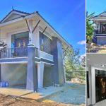 บ้านชั้นครึ่งแนวไทยประยุกต์ โทนสีน้ำเงิน 3 ห้องนอน 2 ห้องน้ำ พื้นที่ใช้สอย 135 ตารางเมตร