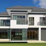 แบบบ้านสองชั้นสไตล์คอนเทมโพรารี ออกแบบพื้นที่ใช้สอยขนาดใหญ่  4 ห้องนอน 5 ห้องน้ำ สร้างด้วยงบ 2.8 ล้านบาท