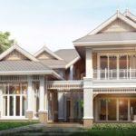 แบบบ้านสไตล์ไทยประยุกต์ ดีไซน์โดดเด่นสะท้อนความงามแบบไทย พร้อมพื้นที่อยู่อาศัยขนาด 515 ตารางเมตร