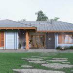 แบบบ้านไม้ชั้นเดียวทรงตัวแอล (L-Shape) ตกแต่งด้วยโทนสีฟ้าสดใส บนเส้นสายของธรรมชาติอันอ่อนโยน