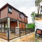 บ้านน็อคดาวน์โครงเหล็ก 2 ชั้น ออกแบบใต้ถุนยกสูงพร้อมระเบียงโปร่งสบาย งบประมาณ 2 ล้านปลายๆ
