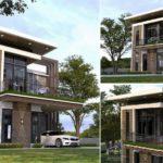 แบบบ้านสองชั้นสไตล์โมเดิร์น 3 ห้องนอน 2 ห้องน้ำ พร้อมระเบียงดาดฟ้าเปิดโล่ง ก่อสร้างด้วยงบ 1.8 ล้านบาท