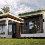แบบบ้านชั้นเดียวสไตล์โมเดิร์น ออกแบบรูปทรงตัวยู พร้อมพื้นที่ดาดฟ้าโปร่งสบาย งบก่อสร้าง 1.5 ล้านบาท