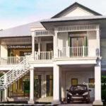 แบบบ้านสองชั้นทรงไทยประยุกต์ ออกแบบใต้ถุนยกสูง และระเบียงโปร่งโล่ง ตกแต่งตัวบ้านในโทนสีขาวสว่าง