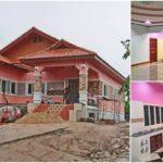 บ้านยกพื้นสไตล์ร่วมสมัย ตกแต่งโทนสีชมพู 4 ห้องนอน 1 ห้องน้ำ (ก่อสร้างที่จังหวัดร้อยเอ็ด)