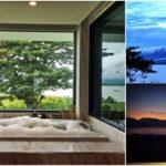 """พาไปชม """"มุมอาบน้ำในฝัน"""" บรรยากาศอิงแอบแนบชิดธรรมชาติ มีพื้นหลังเป็นภูเขา ที่ตั้งเด่นสง่างาม"""