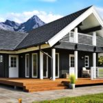 แบบบ้านคอทเทจหลังเล็ก 2 ห้องนอน พร้อมเฉลียงไม้โปร่งทรงตัวแอล พื้นที่ใช้สอย 64 ตารางเมตร