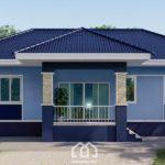 แบบบ้านชั้นเดียวสไตล์คอนเทมโพรารี 3 ห้องนอน 2 ห้องน้ำ ตกแต่งในโทนสีฟ้าสวยสด