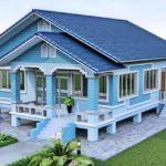 แบบบ้านยกพื้นชั้นเดียว สไตล์คอจเทจ โทนสีฟ้าสบายตา 3 ห้องนอน 2 ห้องน้ำ งบก่อสร้าง 1.35 ล้านบาท
