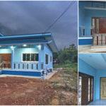บ้านชั้นเดียวสไตล์โมเดิร์น ตกแต่งด้วยโทนสีฟ้าสดใส ขนาด 3 ห้องนอน 1 ห้องน้ำ งบก่อสร้างเริ่มต้น 9 แสนบาท