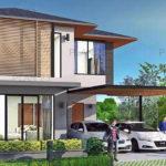 แบบบ้านสองชั้นสไตล์คอนเทมโพรารี ออกแบบพื้นที่ใช้สอยกว้างขว้าง พร้อมที่จอดรถ งบก่อสร้าง 2.23 ล้านบาท