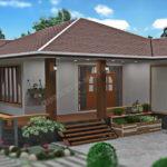 แบบบ้านสวนริมน้ำขนาดชั้นเดียว 3 ห้องนอน 2 ห้องน้ำ พร้อมเฉลียงทั้งหน้าและหลังบ้าน