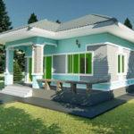 แบบบ้านชั้นเดียวขนาดเล็กสไตล์คอนเทมโพรารี 3 ห้องนอน 2 ห้องน้ำ งบก่อสร้างเริ่มต้นที่ 8 แสนบาท
