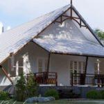 บ้านชั้นเดียวทรงจั่ว โดดเด่นในโทนสีขาว พร้อมเฉลียงพักผ่อนหน้าบ้าน ในพื้นที่ใช้สอย 78 ตารางเมตร