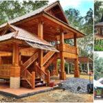 บ้านทรงไทยขนาดสองชั้น โครงสร้างครึ่งไม้ครึ่งปูน สวยสง่าด้วยงานไม้สุดปราณีต