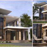 แบบบ้านสองชั้นสไตล์โมเดิร์นลอฟท์ เพดานยกสูง พร้อมระเบียงโปร่งโล่งชั้นบน ขนาด 3 ห้องนอน 2 ห้องน้ำ