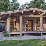 แบบบ้านไม้สไตล์คอจเทจ ออกแบบด้วยงานไม้ในโทนสีธรรมชาติทั้งหลัง พร้อมชานบ้าน และโรงจอดรถ