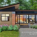 แบบบ้านชั้นเดียวสไตล์โมเดิร์น ดีไซน์ตัวบ้านรูปทรงตัวแอล สวยเด่นด้วยผนังปูนเปลือยโชว์แนว