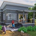 แบบบ้านหลังน้อยสุดเรียบง่าย สไตล์โมเดิร์นลอฟท์ 2 ห้องนอน 2 ห้องน้ำ เหมาะสำหรับครอบครัวเริ่มต้น