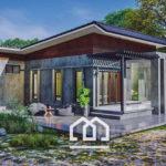 แบบบ้านชั้นเดียวสไตล์โมเดิร์นลอฟท์ ดีไซน์บ้านรูปทรงตัวแอล (L-Shape) 2 ห้องนอน 1 ห้องน้ำ งบประมาณ 1.2 ล้านบาท