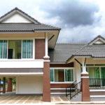 บ้านสองชั้นสองชั้นทรงไทยประยุกต์ หลังคาดีไซน์ทรงมะนิลา พร้อมใต้ถุนยกสูง 3 ห้องนอน 2 ห้องน้ำ
