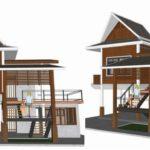 แบบบ้านสองชั้นทรงไทยประยุกต์ 1 ห้องนอน 2 ห้องน้ำ พร้อมระเบียง ออกแบบเพื่อเป็นบ้านพักในสวน