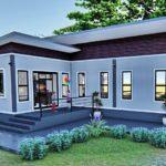 แบบบ้านยกพื้นทรงตัวแอล 2 ห้องนอน 1 ห้องน้ำ เรียบง่าย ทันสมัย เหมาะกับครอบครัวเริ่มต้น