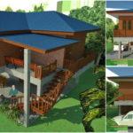 แบบบ้านทรงใต้ถุนสูง โครงสร้างครึ่งไม้ครึ่งปูน 2 ห้องนอน 2 ห้องน้ำ สวยงามตามแบบฉบับบ้านชนบทดั้งเดิม