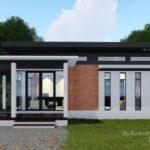 แบบบ้านหลังเล็กสไตล์โมเดิร์น 1 ห้องนอน 2 ห้องน้ำ พร้อมเฉลียงรับลมรอบบ้าน พื้นที่ใช้สอย 65 ตารางเมตร