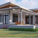 บ้านสไตล์โมเดิร์นโทนสีขาว ดีไซน์รูปทรงตัวแอล (L-Shaped House) 3 ห้องนอน 1 ห้องน้ำ พร้อมสระว่ายน้ำขนาดย่อม