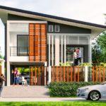 แบบบ้านยกพื้นสูงสไตล์โมเดิร์น 2 ห้องนอน 2 ห้องน้ำ พร้อมใต้ถุนบ้านสำหรับจอดรถ