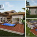 แบบบ้านชั้นเดียวสไตล์โมเดิร์น 3 ห้องนอน 2 ห้องน้ำ พร้อมสระว่ายน้ำส่วนตัว และเฉลียงขนาดใหญ่