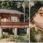 แบบบ้านกระท่อมชนบท ดีไซน์บ้านยกพื้นรับลม พร้อมเฉลียงชมวิวธรรมชาติรอบบ้าน